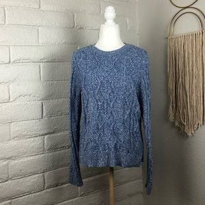 Banana Republic Blue Marled Cable-knit Sweater